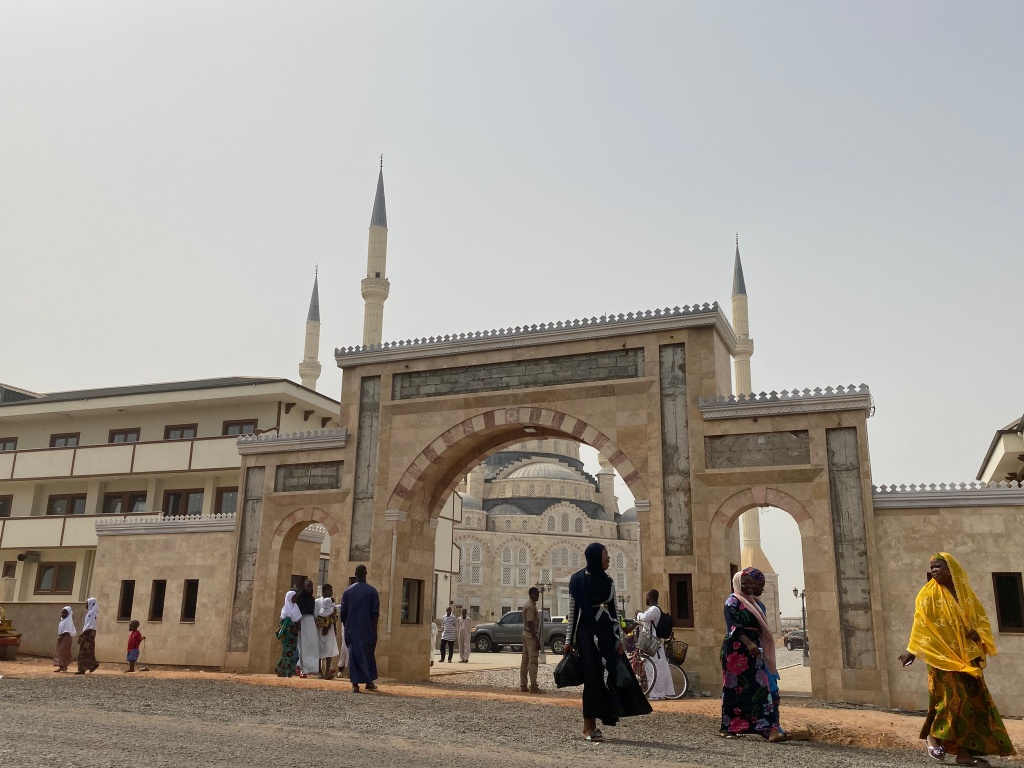 View of the entrance to the Accra Central Mosque