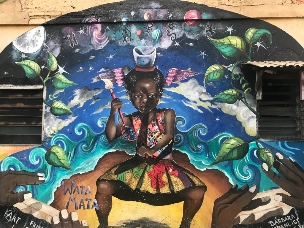 A bright mural painting in Jamestown Accra