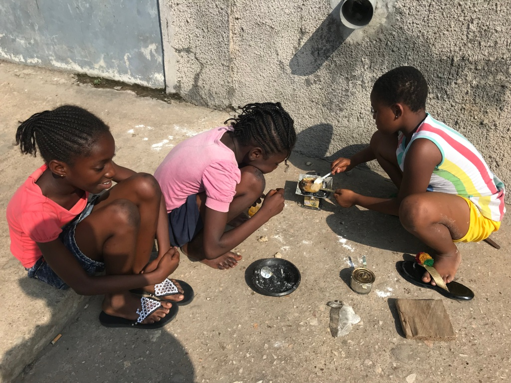 Little girls playing in Jamestown Accra