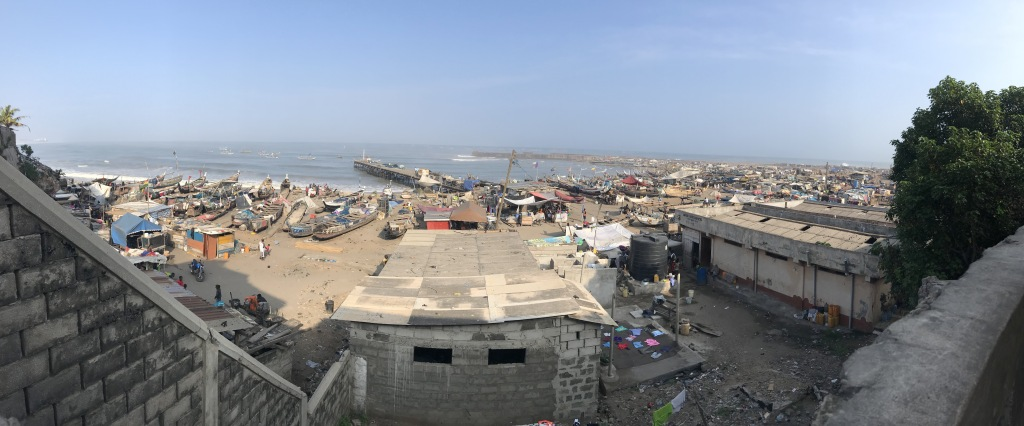 View of Jamestown fishing community, Accra Ghana. View of the sea and fishing boats