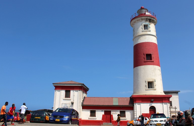 Red and white lighthouse in Jamestown Accra