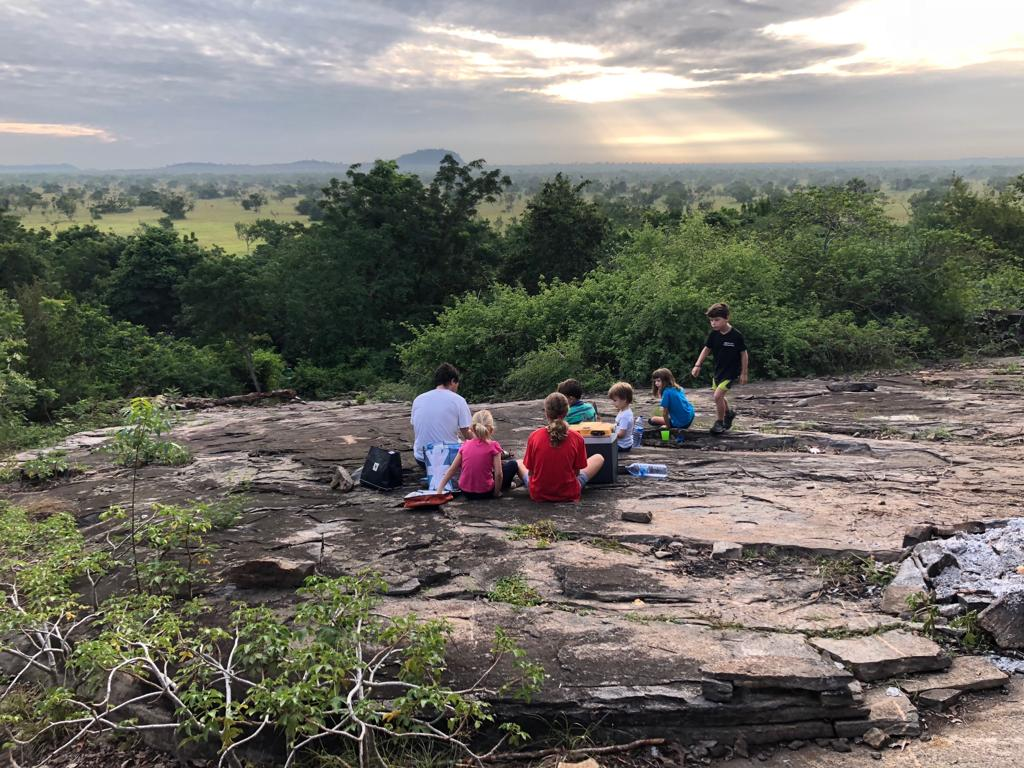 Watching the sunrise at the Shai Hills Resource Reserve in Accra Ghana