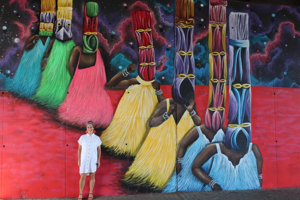 Murals at the Ako Adjei interchange Accra Ghana
